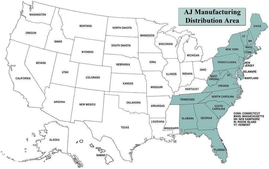 AJ distribution map
