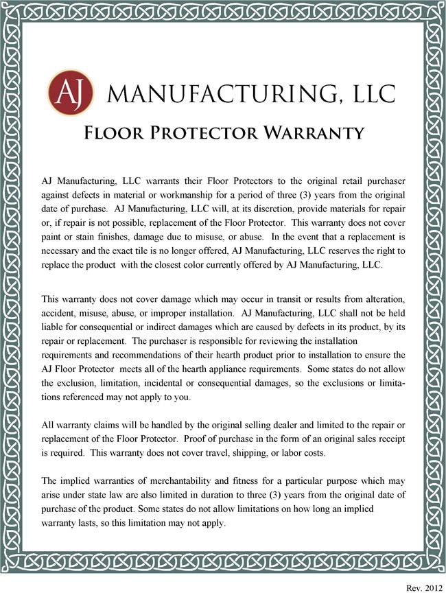 AJ Floor Protector Warranty