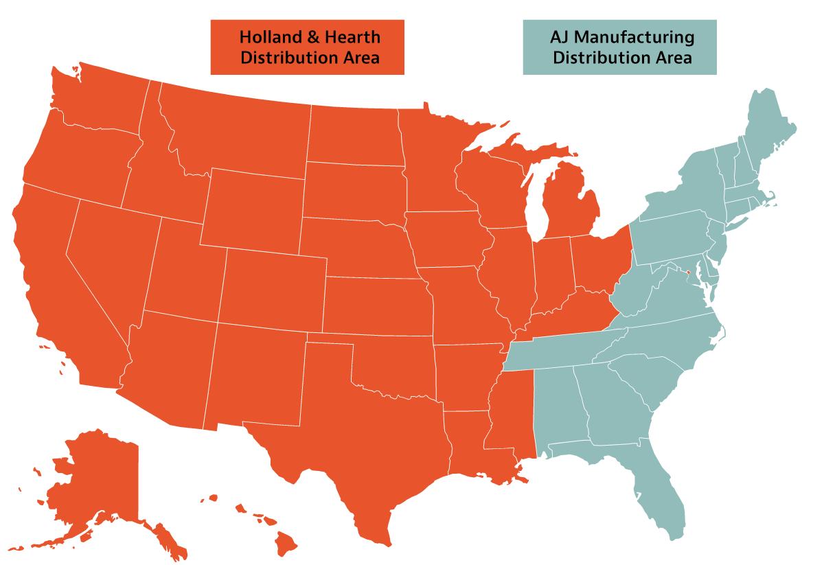 AJ Manufacturing distribution area map